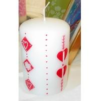 Poročna sveča - debela/valentinovo srce