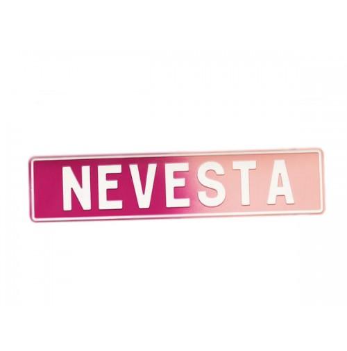 Tablica - NEVESTA/belo-roza