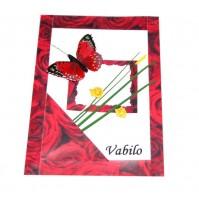 Vabilo - rdeča vrtnica, metulj