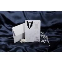 Vabilo - belo - poročni par/obleki
