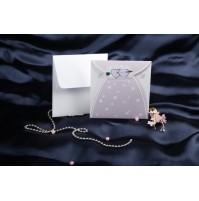 vabilo - belo/lila oblekca/srebrna srčka