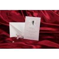 Vabilo - belo/roza obleki za mladoporočenca