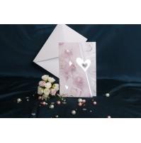 Vabilo - roza in modre vrtnice/srebrni srčki